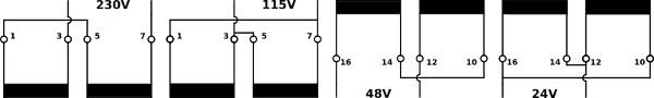 Series-parallel connection of the encapsulated transformers UI30