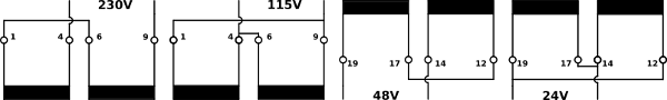 Series-parallel connection of the encapsulated transformers UI39