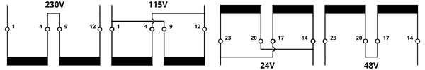 Series-parallel connection of the encapsulated transformers UI48